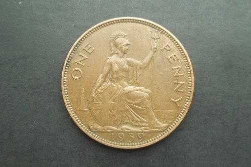GREAT BRITAIN 1939 1 PENNY WORLD COIN