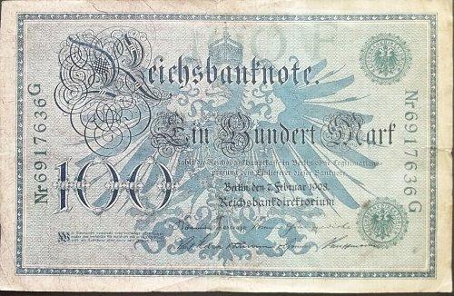 GERMANY 1908 100 MARK WORLD PAPER MONEY