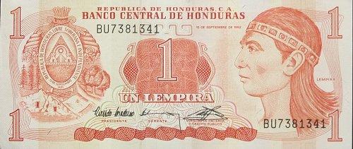 HONDURAS 1994 1 LEMPIRA WORLD PAPER MONEY