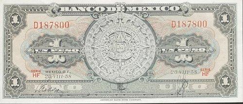MEXICO 1958 1 PESOS WORLD PAPER MONEY