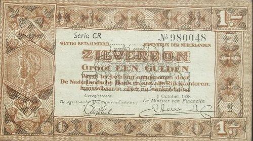 NETHERLANDS 1938 1 GULDEN WORLD PAPER MONEY