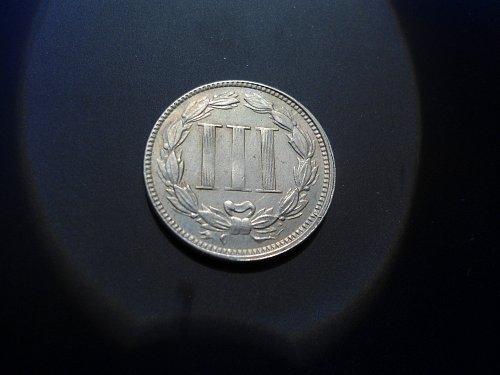 1866 THREE CENT NICKEL.  MINT ERROR COIN. Struck off center.