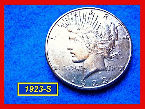 "1923-S  PEACE Dollar — ""XF-40"" Condition –  (#5289)b"