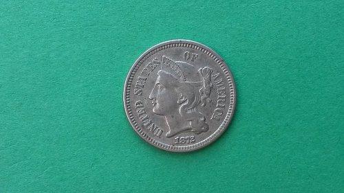 1872 3 Cent Nickel AU