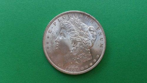 """1888 Morgan Silver Dollar Vam18 Double Eyelid """"HOT 50"""" CH BU"""