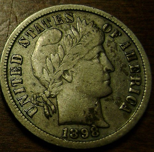 1898-S F Fine Barber Dime Free Shipping
