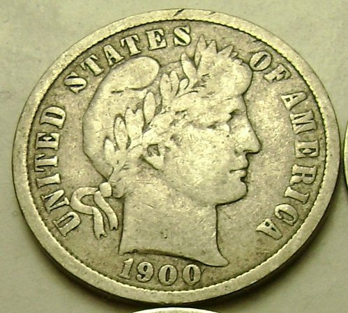 1900 VG Very Good Barber Dime Free Shipping