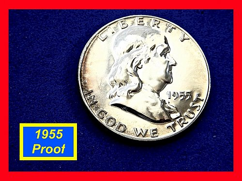 "PROOF 1955-P  Franklin ☆  ""PF-63"" PROBLEM FREE  ☆  (#1919)a"
