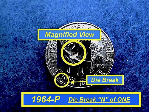 1964-P  ☆  Die Break  ERROR ☆  Uncirculated  ☆  (#3732)a