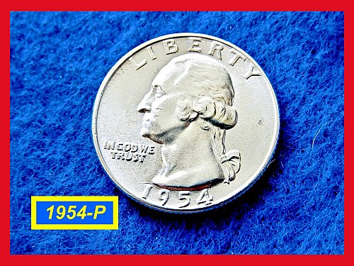 "1954-P Washington Quarters ✬ ""AU-UNC"" ✬ (#2848)a"
