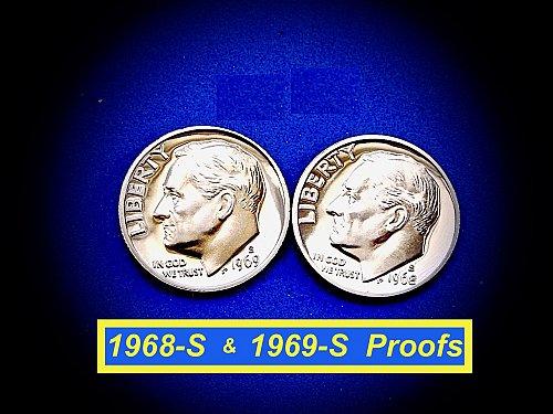 ☆ 1968-S & 1969-S  PROOF DIMES ☆ (#3897)a