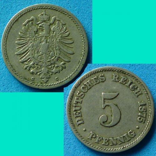Germany Empire 5 Pfennig 1875 C km 3