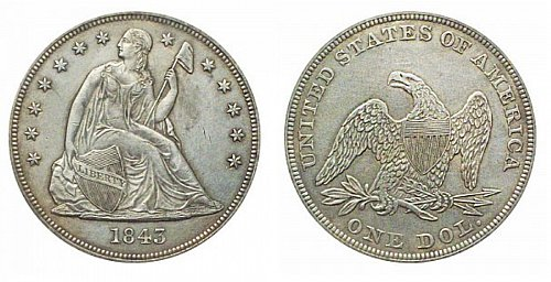 Seated Liberty 1842 one dollar