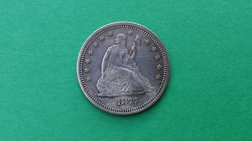 1877 Seated Liberty Quarter Dollar AU-Nicely Toned