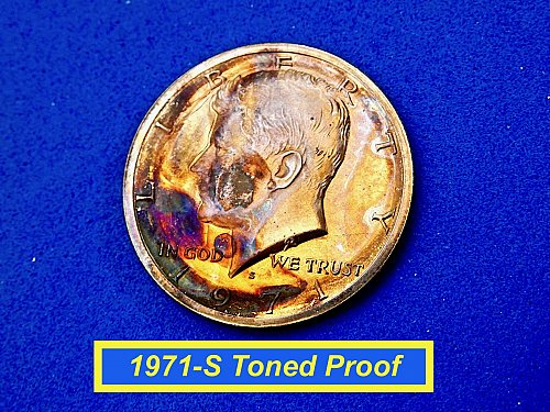 1971-S PROOF HALF ☆ Interesting Toning ☆  (#1015)a
