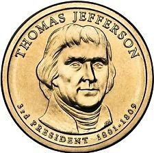 2007 P  THOMAS JEFFERSON  GOLDEN DOLLAR
