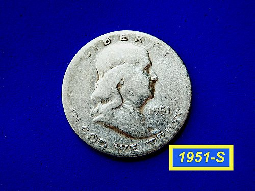 1951-S HALF ☆ VERY Circulated ☆  (#1023)a