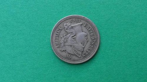 1865 3 Cent Nickel Gem BU Nicely Toned