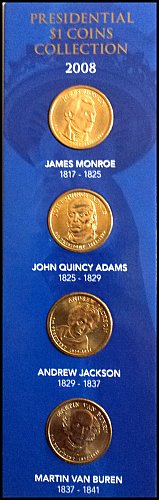 4x $1 Presidential Coins: 2008 -Monroe, J.Q. Adams, Jackson, Van Buren Mounted