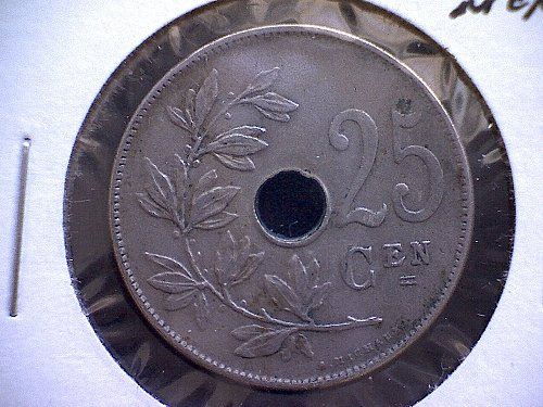 1913 BELGIUM TWENTY-FIVE CENTIMES