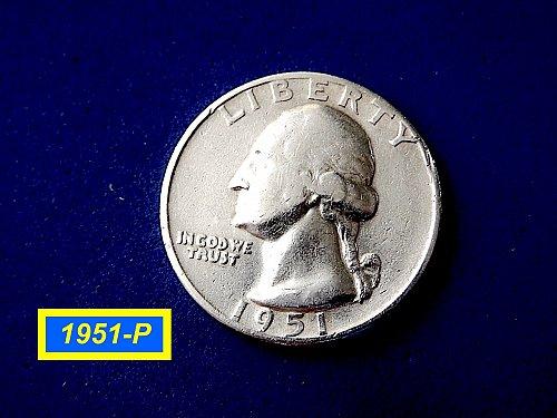 """1951-P Quarter ☆  """"VF"""" ☆ (#2895)b"""
