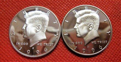 1996-S DC 90% Silver Proof Kennedy Half Dollar & Clad Proof Half Dollar Set