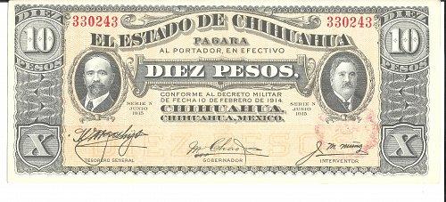 1915  Mexico-Chihuahua  10-PESO