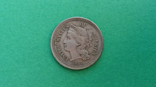 1865 3 Cent Nickel  AU/BU