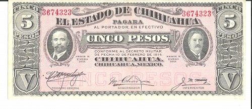 1915  Mexico-Chihuahua  5-PESOS
