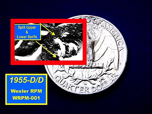 "1955-D/D  Quarter ☆ RPM #WRPM-002 ☆ GEM ""BU"" ""MS-65"" ☆ (#2896)a"