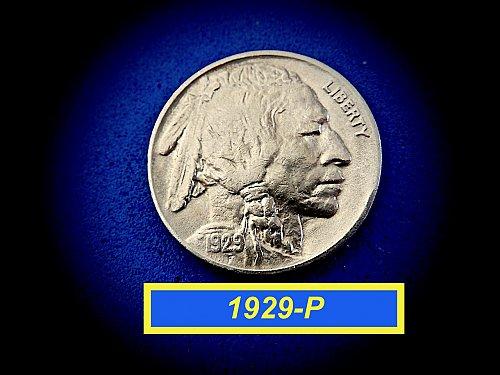 "1929-P Buffalo Nickel  ☆ ""AU-55"" ☆  ""FULL HORN""  ☆  (#6450)a"