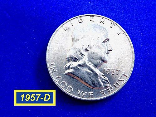 1957-D ☆ Brilliant Uncirculated Franklin ☆  (#1050)a