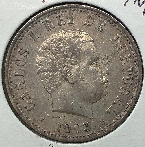 1903 India - Portuguese Rupia - Silver .917
