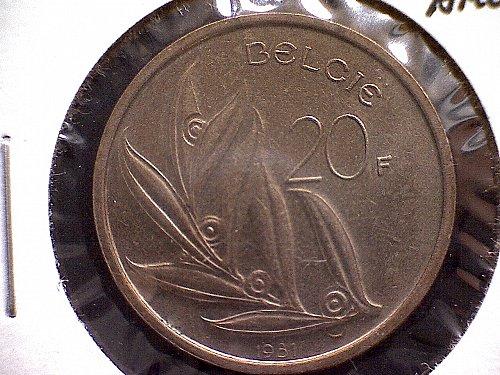 1981 BELGIUM TWENTY FRANCS