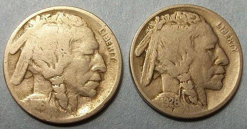 2 Buffalo Nickels LOT BN58k