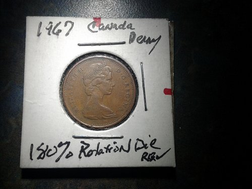 1967 Canadian penny 180% of reverse side