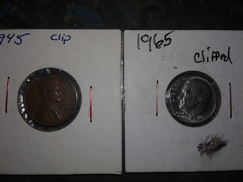 1945-p wheat penny 1965-p dime both clipped