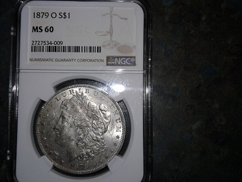 1879-o ngc ms60 full obverse and reverse crack