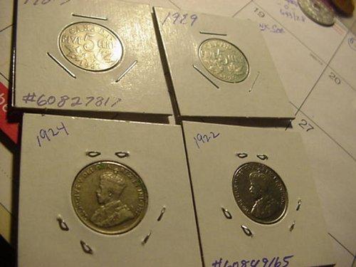4-canada nickels,1922,24,27,29