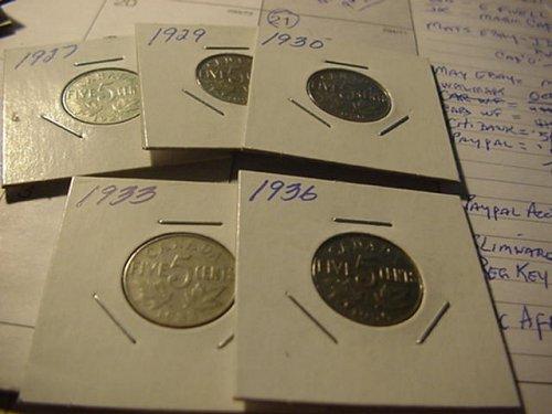 5-canada nickels,,27,29,30,33,36
