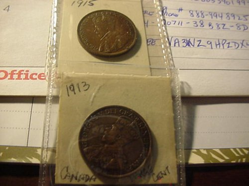 2-canada cents,1913,15