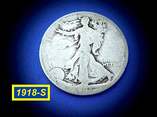 "1918-S  Liberty Walking Half Dollar ☆ ""Partial Date"" ☆  (#1064)a"