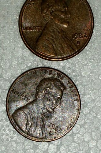 1982 D small date copper 3.12 grams