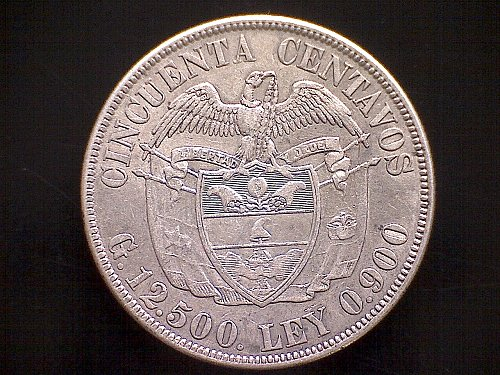 """1922P COLUMBIA FIFTY CENTAVOS  """"SILVER"""""""