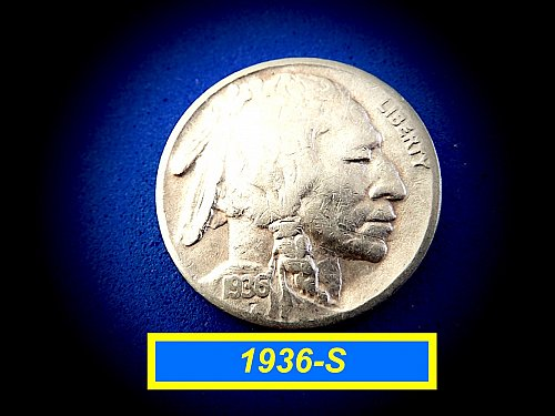 "1936-S Buffalo Nickel  ☆ ""VF-20"" ☆    ☆  (#6451)b"