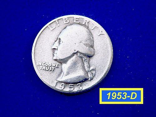 "1953-D Washington Quarter ✬ ""Circulated"" ✬ (#2881a)a"