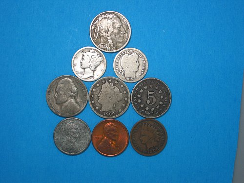 Nine Coin Mini Hoard ** 1867-1958 ** Cents, Nickels, Dimes