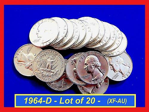 "Lot of 20 each 1964-D Quarters ☆ ""XF—to—AU"" ☆ (#2940)a"