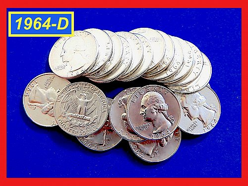 "Lot of 20 each 1964-D Quarters ☆ ""XF—to—AU"" ☆ (#2940)a"