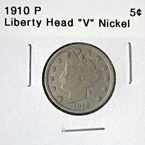 "1910 P  Liberty Head ""V"" Nickel - 4 Photos!"
